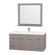 "Centra 48"" Bathroom Vanity, Gray Oak, White Stone Top"