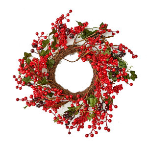 Red Spiral Berry Wreath 24 Farmhouse Wreaths And Garlands By Flora Decor