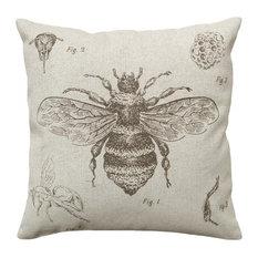 Bee Study Smokey Gray, Hand-Printed Linen Pillow