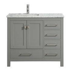 Eviva London Bathroom Vanity, Gray, 36""
