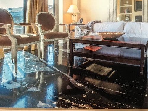 Distressed hardwood floor refinish