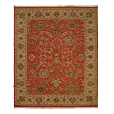 Soumak Flatweave Hand-Knotted Rug, Rust and Ivory, 8'x10'