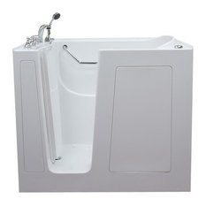 Extra Deep Walk-In Tub, Bisque, Soaking, Left Hand