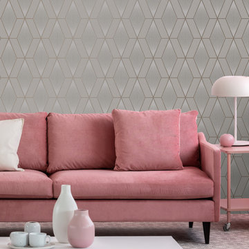 Glitter Diamond Geo Taupe and Rose Gold Wallpaper by Graham & Brown Room Set