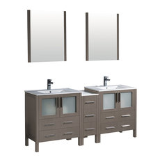 "Torino 72"" Gray Oak Double Sink Bathroom Vanity, Side Cabinet, Integrated Sinks"