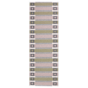 Marta Woven Vinyl Floor Cloth, Pink and Olive, 150x250 cm
