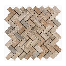 "12.06""x12.06"" Sadie Mosaic Wall and Floor Tiles, Travertine Marble, Set of 10"