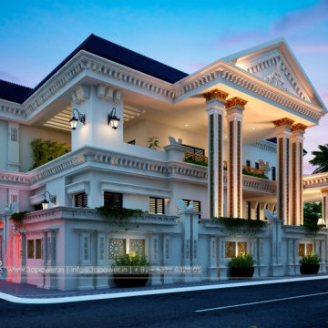 New modern and unique architectural rendering of bungalows and apartments