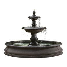Caterina Outdoor Water Fountain in Basin, Nero Nuovo