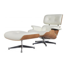 Aniline Leather Lounge Chair and Ottoman, Seat: White, Base: Natural