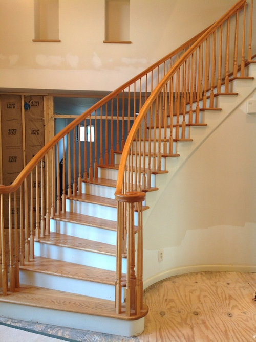 I Will Be Updating The Staircase With White Painted Spindles And The  Railing Will Match The New Hardwoods That Go In Next Week. Anyone Have Any  Tricks To ...