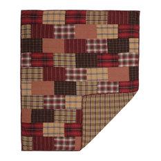 Red Rustic and Lodge Decor Laramie Throw Rod Pocket Cotton Plaid Patchwork