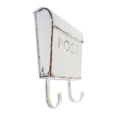 NACH Euro Wall Mounted Mailbox POST with Newspaper Holder, Rustic Cream