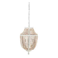Metal Chandelier With Wood Beads, White