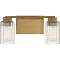 Danson 2-Light Bath Light With Ribbed Glass Shades, Weathered Brass