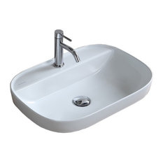 "22"" Oval White Ceramic Drop In Sink, 1-Hole"
