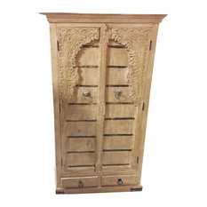Mogul Interior - Consigned Antique Floral Carved Arched style Cabinet Texas Ranch Armoire - Armoires and Wardrobes