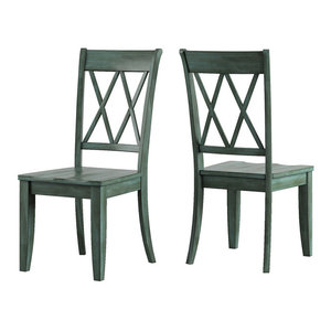 Consigned Antique Green Fiddle Back Chairs