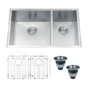 Ruvati 32-Inch Undermount 60/40 Double Bowl Zero Radius 16 Gauge Kitchen Sink