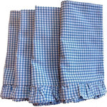Bella Bohemian™ - Blue Ruffle Trim Napkins, Set of 4 - Set of four (4) square ruffle trim blue and white cotton napkins. Made of 100% vintage cotton fabric. You may find a very small stain in the napkins from the age of the fabric.  Our custom napkins add and elegant touch to your table and party. Handmade they come with our own custom tag attached to ensure the quality one would expect from the Bella Bohemian name. Each napkin is soft to the touch yet made to last, and can be used every day as a great substitute for paper. Also it's a perfect gift for any occasion