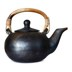Terra Klay - Artisan Handmade Black Large Ceramic Teapot 18 Fl.Oz - Teapots