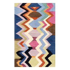 "Hand-Tufted Tikal Striped Chevron AH05 Rug, Multi, 7'6""x9'6"""