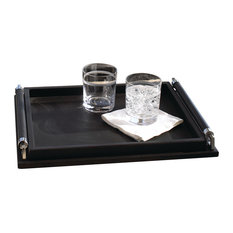 Wrapped Handle Tray, Leather, Black, Small