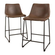 GDF Studio Central Vintage Brown Bar Stools, Set of 2