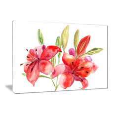 """""""Lily Flowers Illustration"""" Floral Canvas Print, 20""""x12"""""""