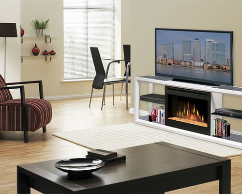 Dimplex - Novara White Electric Fireplace Media Console with Glass Embers -  SGFP-300- - Electric Fireplace TV & Media Consoles