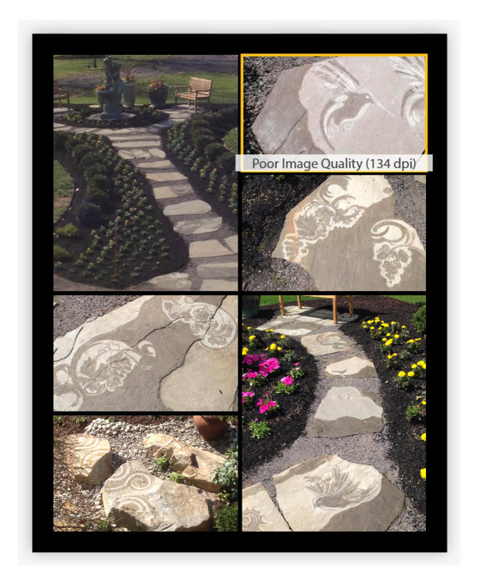 """Flagstone Pathway- Artisan stone carvings transform the path with a """"Tuscan Vine"""