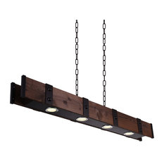 "59"" 4-Light Chandelier With Black Finish"