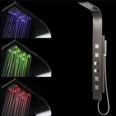 Miliboo - Columna de ducha termostática luces LED SANAGA - Paneles y columnas de ducha