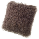"""Fibre by Auskin - Tibetan Lambskin 19"""" Cushion, Portabella - Tibetan lambskin cushions are the epitome of luxury. Soft and textural, these cushions are an amazing accent to any room of your home. Backed with a cotton velvet fabric with a zipper and filled with a polyester insert."""