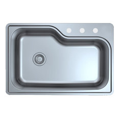 """Design House 110593 33"""" Drop In Single Basin Stainless Steel - Stainless Steel"""