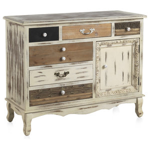 Whitewashed Wooden Sideboard With 6 Drawers