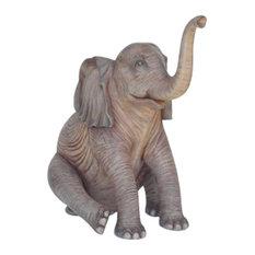 Elephant Baby Sitting 5' Life Size Statue
