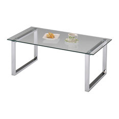 Pilaster Designs   Modern Design Glass Top Cocktail Coffee Table, Chrome   Coffee  Tables