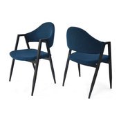 GDF Studio Jimena Open Back Dining Chairs With Iron Legs, Navy Blue, Set of 2