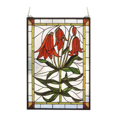 """16""""Wx24""""H Trumpet Lily Stained Glass Window"""