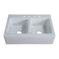 Farmhouse Cast-Iron 33 in. 50/50 Double Bowl Kitchen Sink