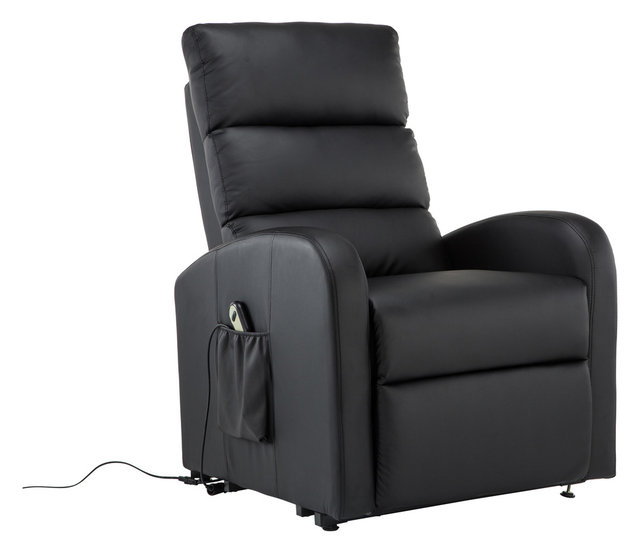Classic Plush Bonded Leather Power Lift Recliner Living Room Chair ...