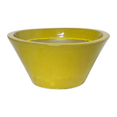 Round Low Planter, Yellow, Large