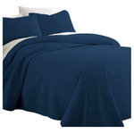 Ienjoy Home - Becky Cameron Premium Ultra Soft Herring Pattern Quilted Coverlet Set, Navy, Que - Casual elegance meets pure uncompromising comfort with this Premium Quilted Coverlet by The Becky Cameron Sure to compliment any bedroom style, this beautiful coverlet is available in three timeless patterns and six vintage, captivating colors. The Becky Cameron Coverlet is spun from our Premium Microfiber yarns, offering twice the durability of cotton and is 100% hypoallergenic. Enjoy easy maintenance with this machine washable, wrinkle free and stain resistant premium beauty. Truly an All Seasons Coverlet, it will keep you warm in the winter and cool in the summer. The Becky Cameron Premium Quilted Coverlet will surely add the finishing touch to your tranquil bedroom oasis.