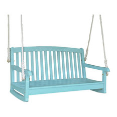 caravan acacia two seater swing with curved backsky blue porch swings