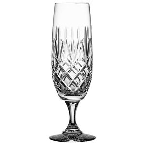 Tall Lead Crystal Champagne Glasses With Pineapple Cut and Short Stems, Set of 6