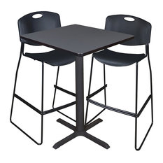 """Cain 30"""" Square Café Table, Gray and 2 Zeng Stack Stools, Black"""