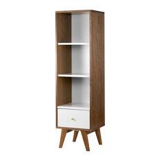 Alya Scandinavian Style Walnut Finish Bookcase Media Tower