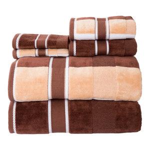 6 Piece Complete Bathroom Towel Set- Beige Lavish Home