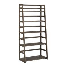 "Acadian Solid Wood 63""x30"" Rustic Ladder Shelf Bookcase, Farmhouse Gray"